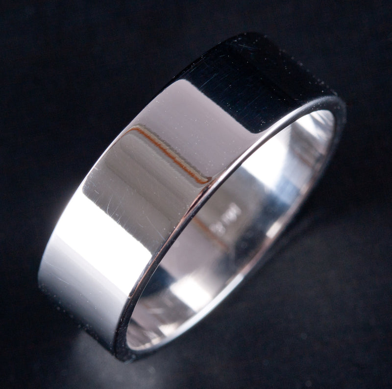 14k White Gold Comfort Fit Lightweight Flat Band Wedding Ring 4.7g Size 7