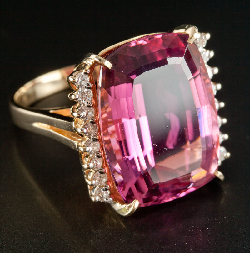 14k Yellow Gold Antique Cushion Tourmaline & Round Diamond Cocktail Ring 27.18ct
