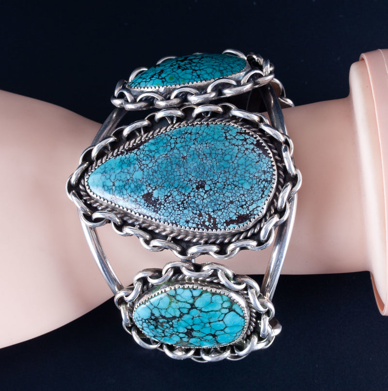Vintage 1970's Sterling Silver Kenny Ray McNelly Jr  Number 8 Turquoise Bracelet