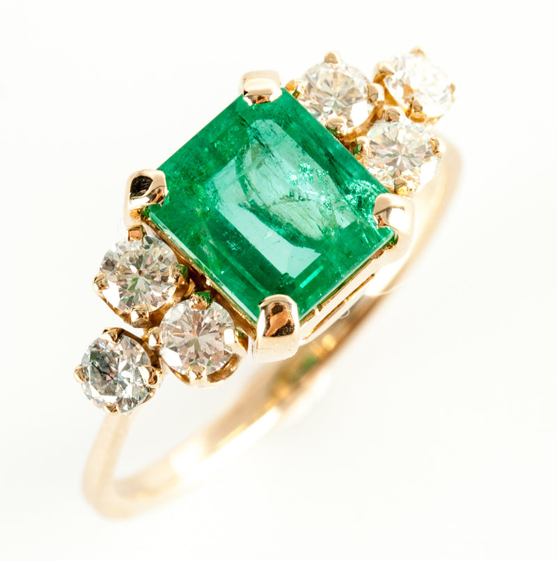 14k Yellow Gold Emerald Solitaire Cocktail Ring W/ Diamond Accents 2.18ctw