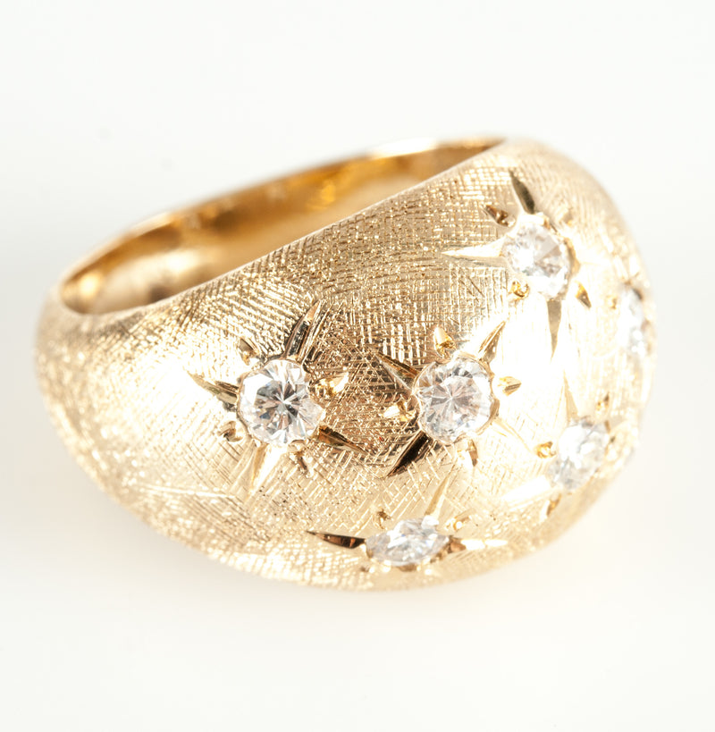 Vintage 1970's 14k Yellow Gold Round Diamond Cocktail Ring .70ctw Size 5.75