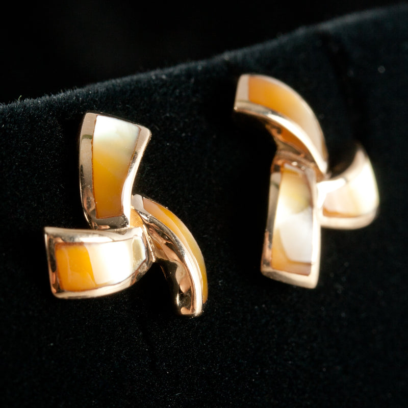 14k Yellow Gold Inlay Golden Mother of Pearl Stud Earrings 2.84g