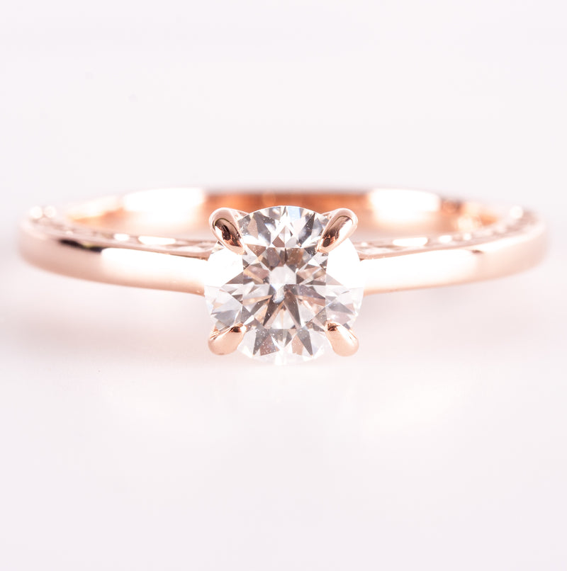 14k Rose Gold Round Diamond Solitaire Engagement Ring W/ EGL Diamond Cert .81ctw