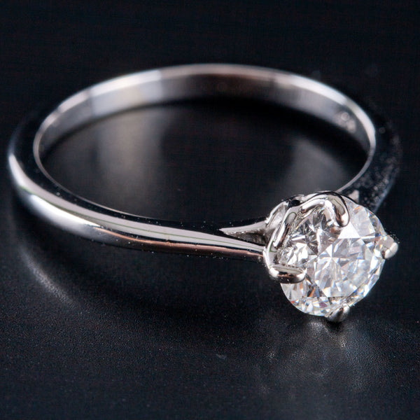 14k White Gold Round Diamond Solitaire Engagement Ring W/ EGL Cert .82ctw