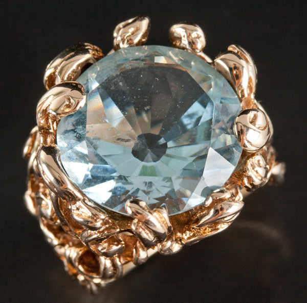 Vintage 1960's 14k Yellow Gold Round Aquamarine Solitaire Cocktail Ring 9.06ct