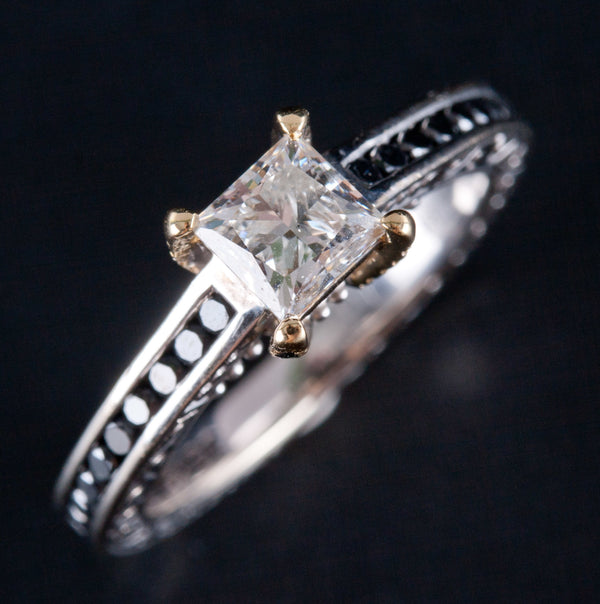 14k White & Yellow Gold Princess Diamond & Black Diamond Engagement Ring 1.62ctw