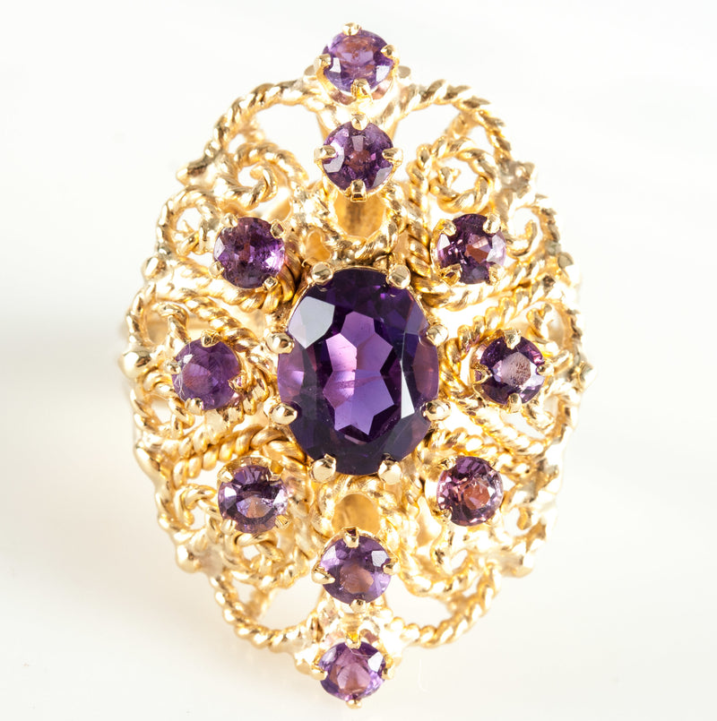 14k Yellow Gold Oval & Round Amethyst Cocktail Ring 2.70ctw Size 7.5