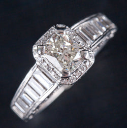 Tacori Platinum Diamond Halo Style Engagement Ring 2.58ctw 9.15g Size 6.75