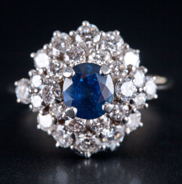 Vintage 1970's 14k White Gold Oval Sapphire & Diamond Ring 2.32ctw Size 8