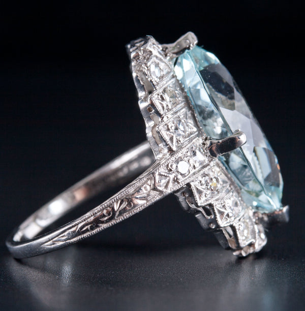 Vintage 1920s Platinum Marquise Aquamarine & Diamond Cocktail Ring 6.99ctw 7.59g