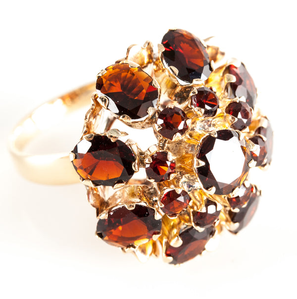 Vintage 1960's 18k Yellow Gold Garnet Pyramid Style Cocktail Ring 8.40ctw