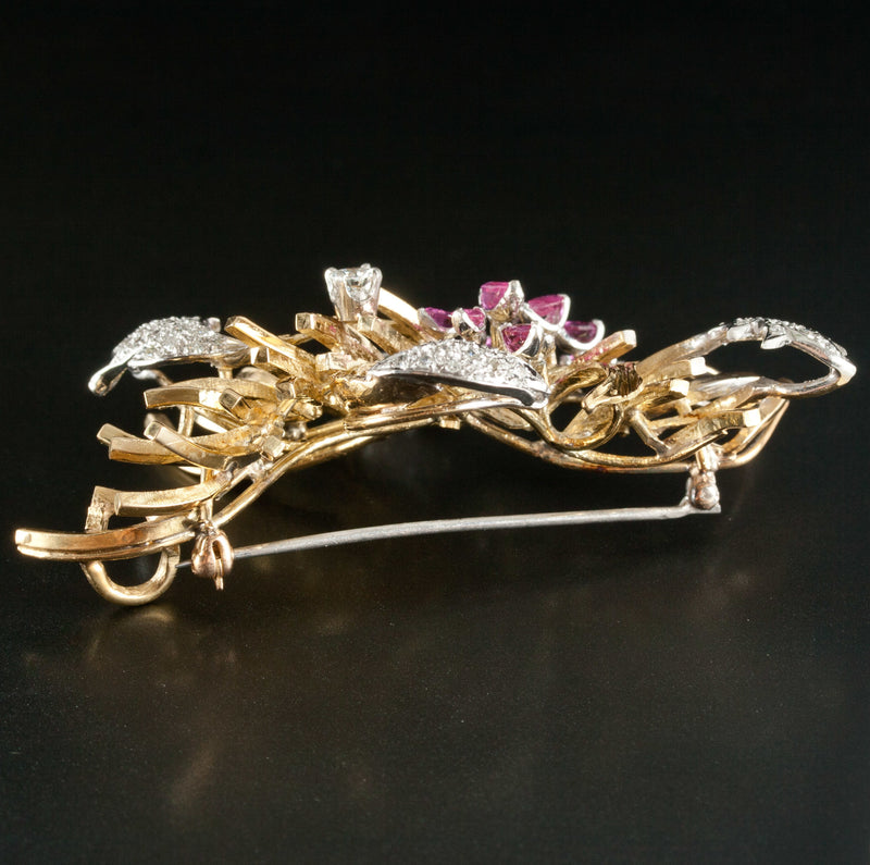 Vintage 1950's 18k Yellow / White Gold Ruby & Diamond Brooch / Pendant 3.115ctw