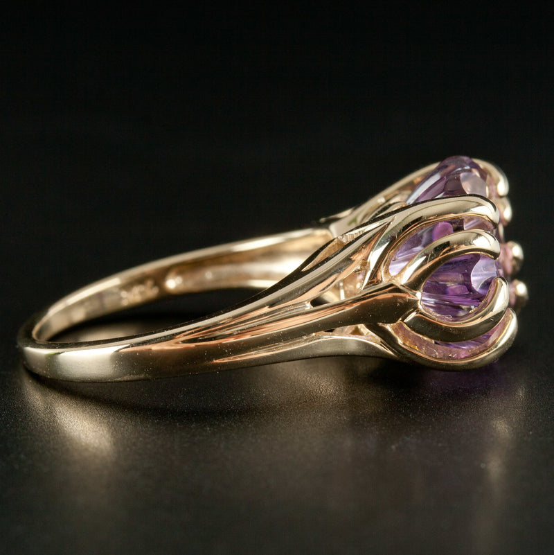 14k Yellow Gold Fancy Round Amethyst Solitaire Cocktail Ring 4.6ct 6.49g