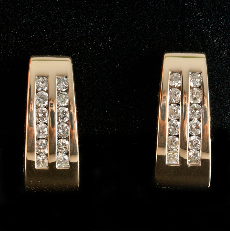 14k Yellow Gold Round Diamond Huggie Style Earrings W/ Omega Backs .72ctw