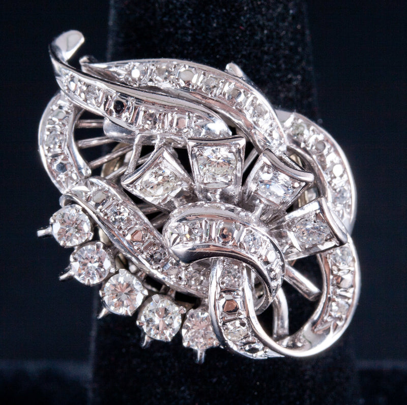 Vintage 1960's 14k White Gold Round Diamond Cluster Cocktail Ring .925ctw 7.55g