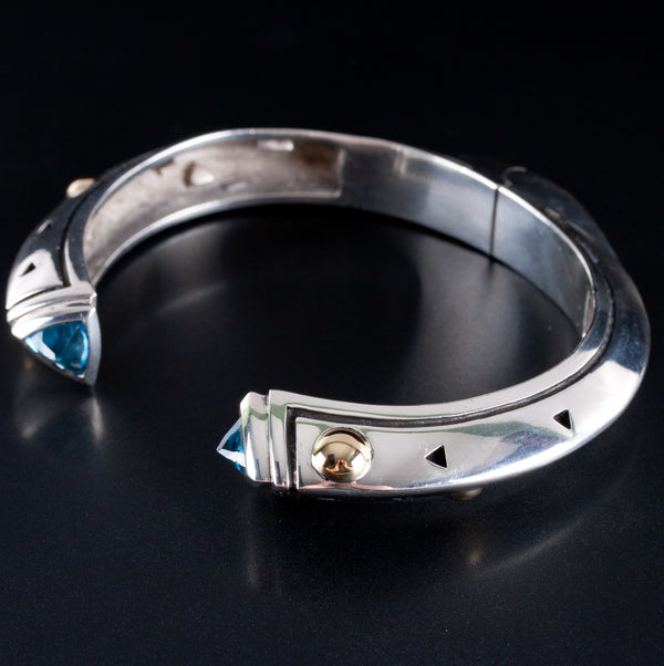 Sterling Silver & 18k Yellow Gold John Atencio Topaz Hinged Bracelet 3.0ctw