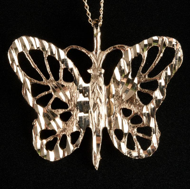 "14k Yellow Gold Butterfly Style Pendant W/ 18"" Chain 2.28g"