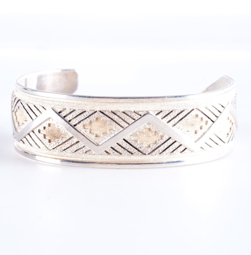 "Unique Sterling Silver ""R J Scott"" Navajo Bracelet W/ Etched Style 40.42g"