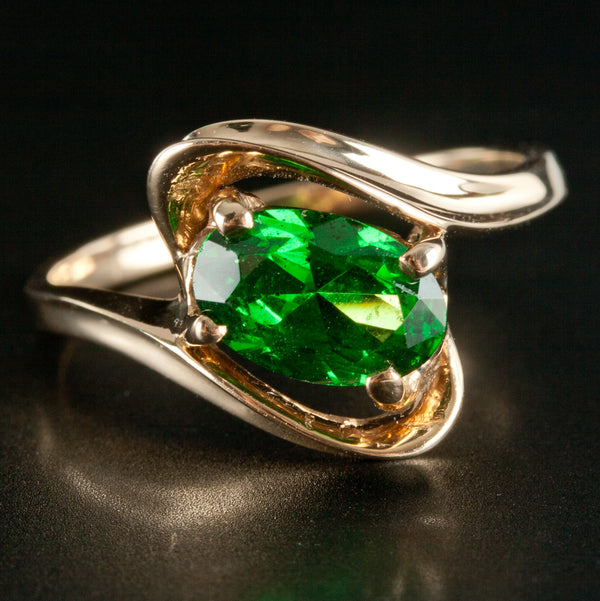 Beautiful 14k Yellow Gold Oval Tsavorite Garnet Solitaire Ring 1.85ct 3.0g
