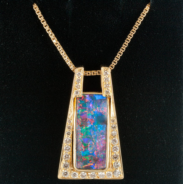 18k Yellow Gold Rectangle Lightning Ridge Black Opal & Diamond Necklace 24.63ctw
