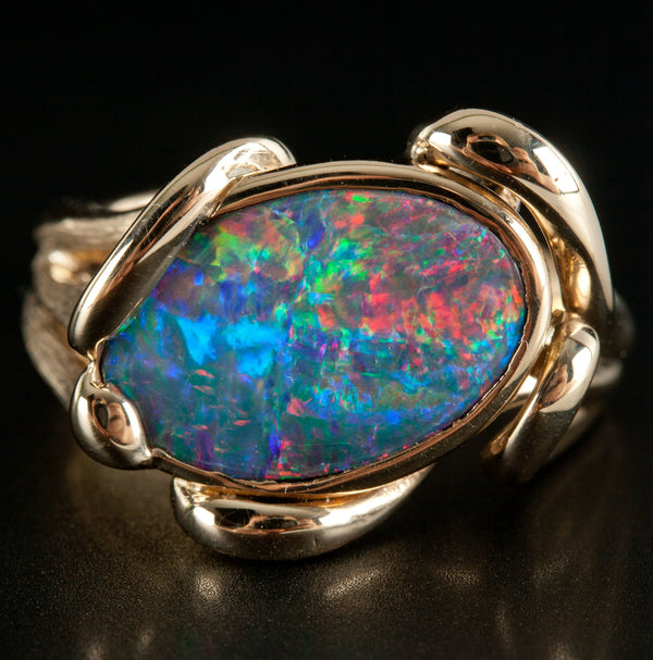 Oval Cabochon Lightning Ridge Black Opal Solitaire Ring, 14k Yellow Gold, 3.85ct