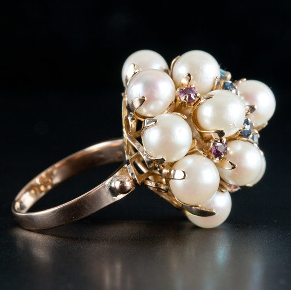 Vintage 1950's 14k Yellow Gold Cultured Pearl & Sapphire Statement Ring .48ctw