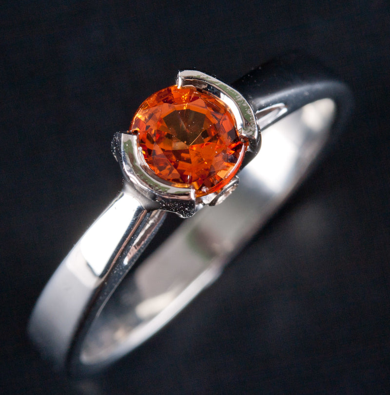 18k White Gold Round Orange Garnet Solitaire Ring W/ Diamond Accents 1.03ctw
