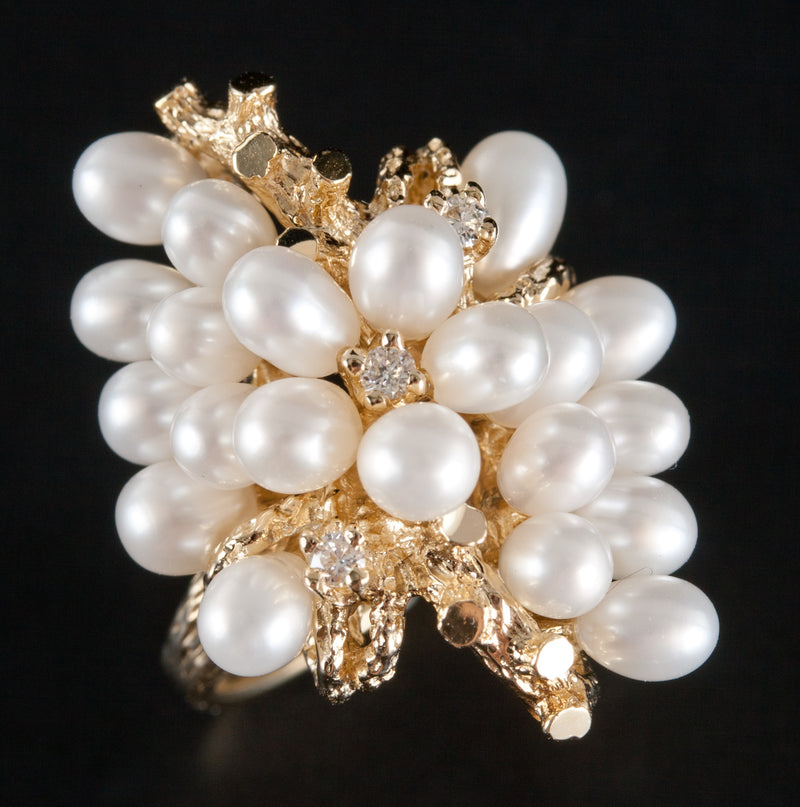 Vintage 1950's 14k Yellow Gold Cultured Pearl & Diamond Statement Ring .09ctw