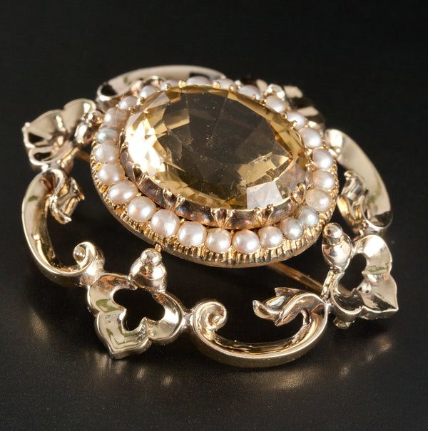 Vintage 1920's 14k Yellow Gold Oval Citrine & Pearl Brooch 13.2ctw 13.17g