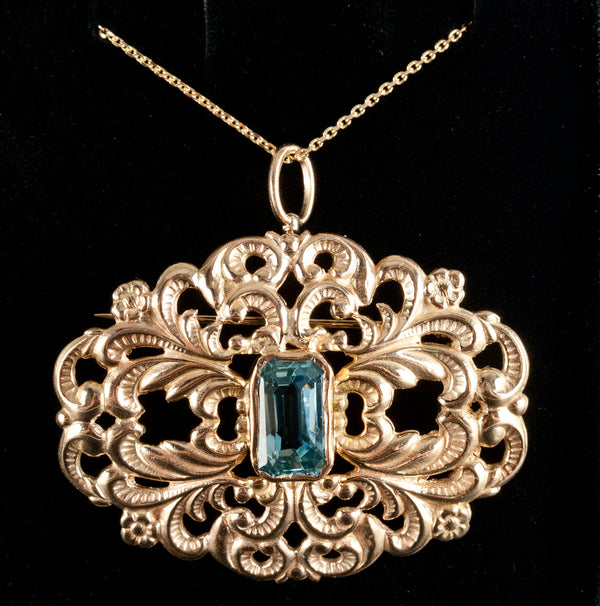 Vintage 1940's 14k Yellow Gold Aquamarine Pendant Brooch Combo W/ Modern Chain