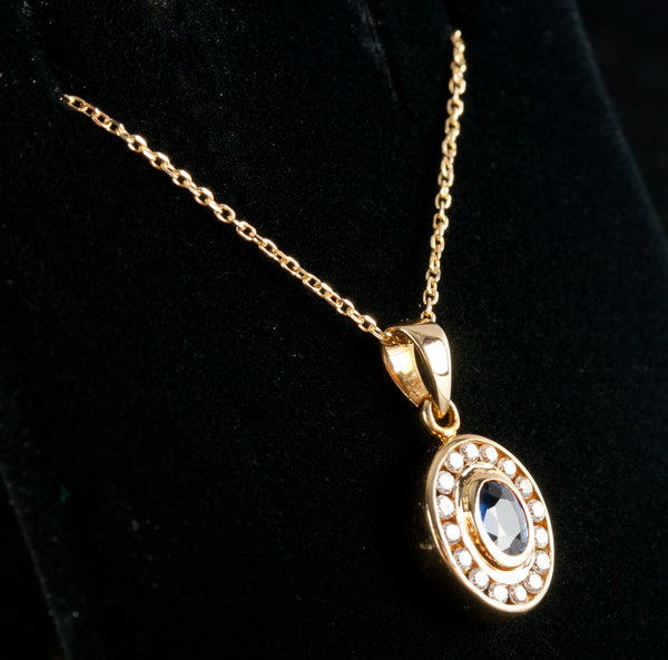 "18k Yellow Gold Oval Sapphire & Diamond Pendant W/ 18"" Chain .99ctw 3.96g"