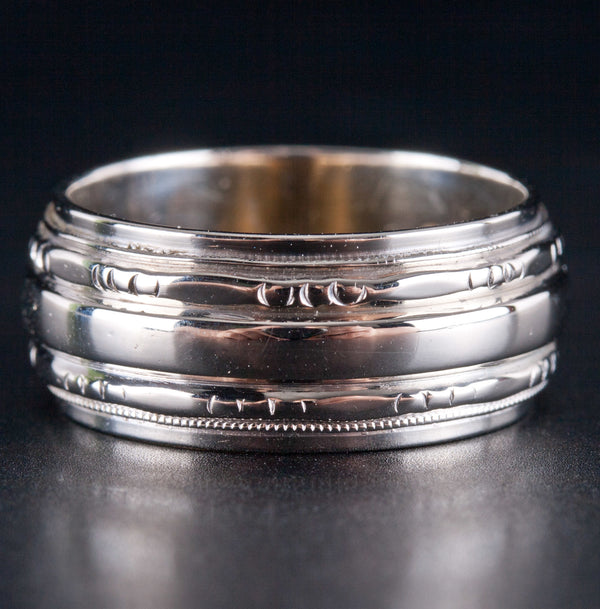 Vintage 1930's 14k White Gold Etched Style Wedding Band / Ring 7.0g Size 5.75
