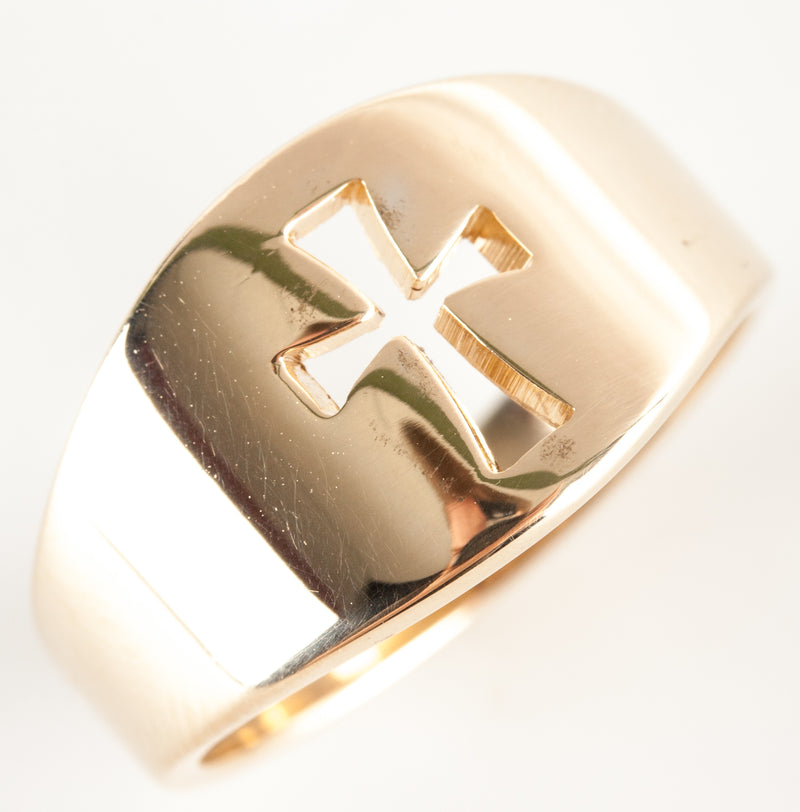 14k Yellow Gold Cut Out Cross Style Band / Ring 7.11g Size 9
