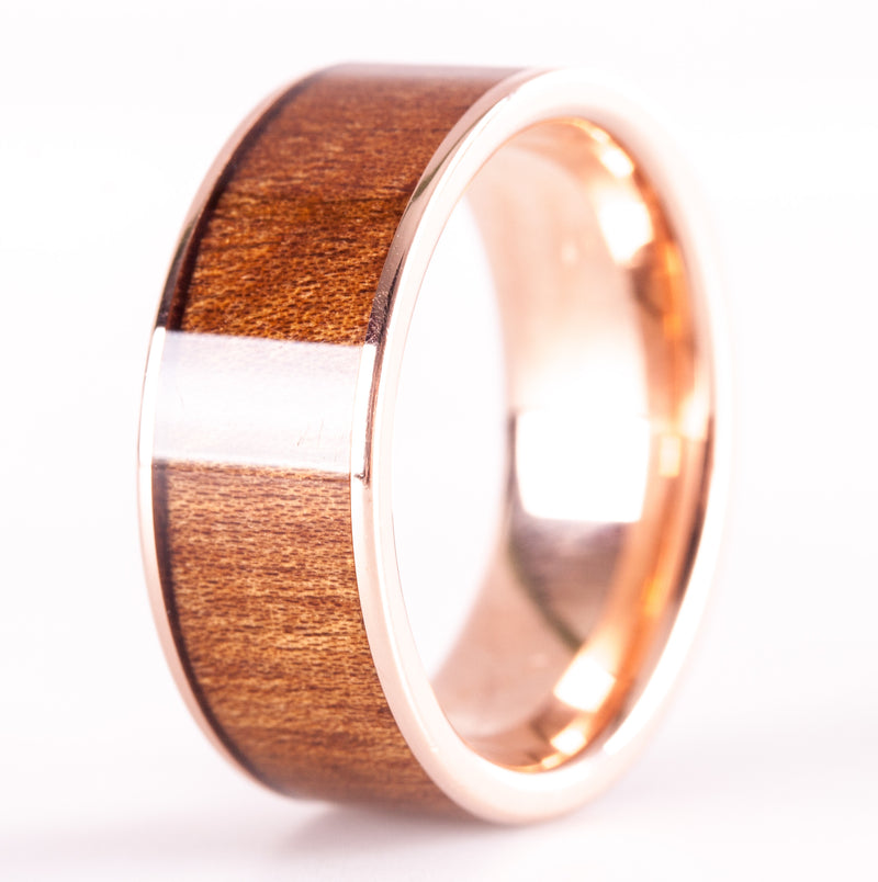 14k Rose Gold Wood Inlay Style Wedding Band / Ring 4.4g Size 8