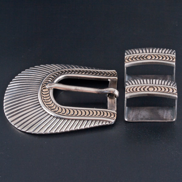Vintage 1970's Sterling Silver / 14k Yellow Gold Native American Belt Buckle Set