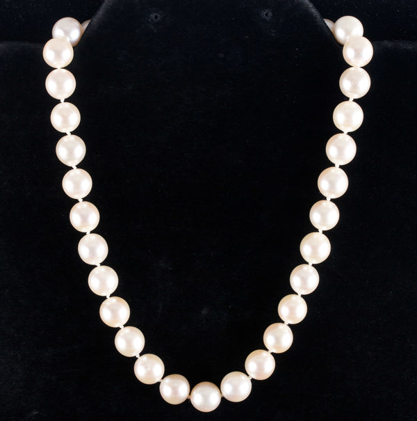 "14k Yellow Gold Saltwater Akoya Cultured Pearl Choker Necklace 14"" Length"