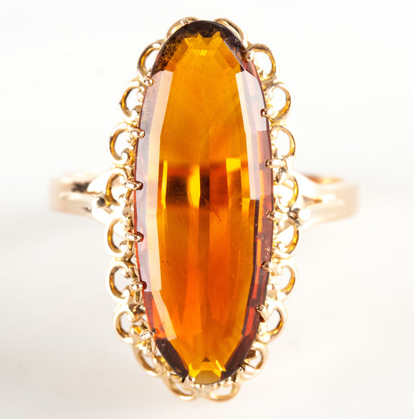 Vintage 1950s 14k Yellow Gold Oval Citrine Solitaire Ring 12.5ct Size 10.5