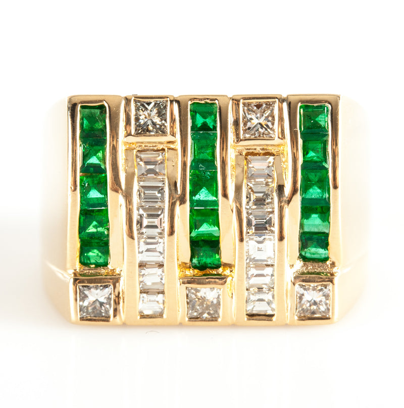14k Yellow Gold Square Emerald & Diamond Statement Ring 2.70ctw 15.78g Size 9