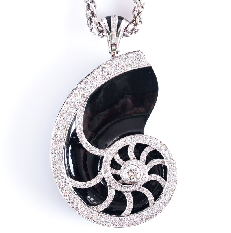 "Platinum 14k White Gold Diamond Ebony Wood Pendant W/ 30.25"" Chain 7.34ctw"