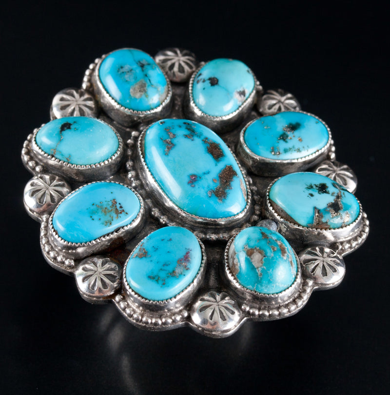 Sterling Silver Navajo Matthew Charley Turquoise Statement Ring 58ctw 42.7g