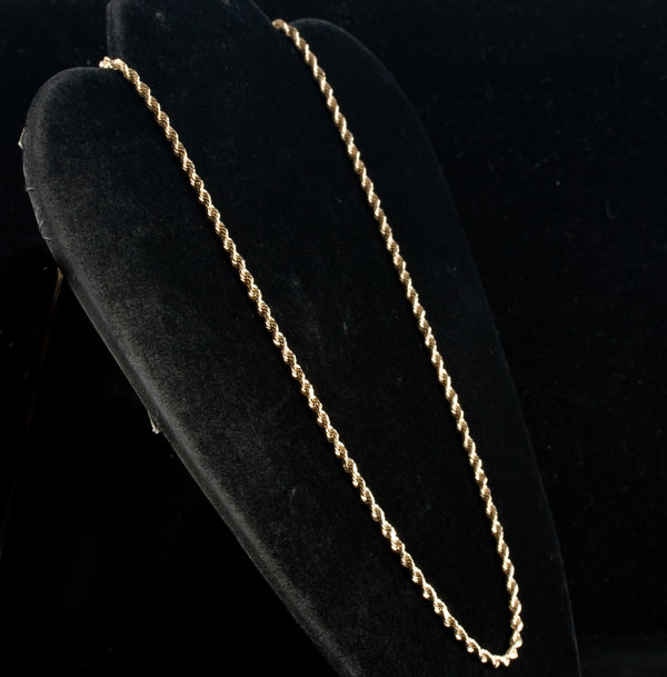 "14k Yellow Gold Rope Style Chain Necklace With Barrel Clasp 14.3g 18.5"" Length"