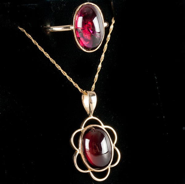 Vintage 1950's 14k Yellow Gold Cabochon Garnet Solitaire Ring Necklace Set 20ctw