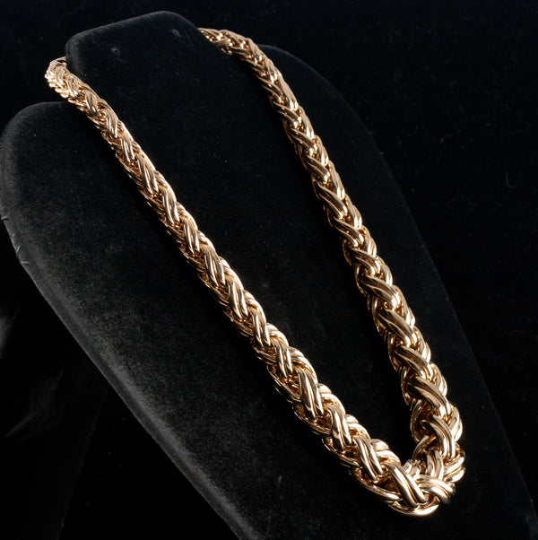 "14k Yellow Gold Tapered Graduated Style Heavy Chain Necklace 16"" Length 71.56g"