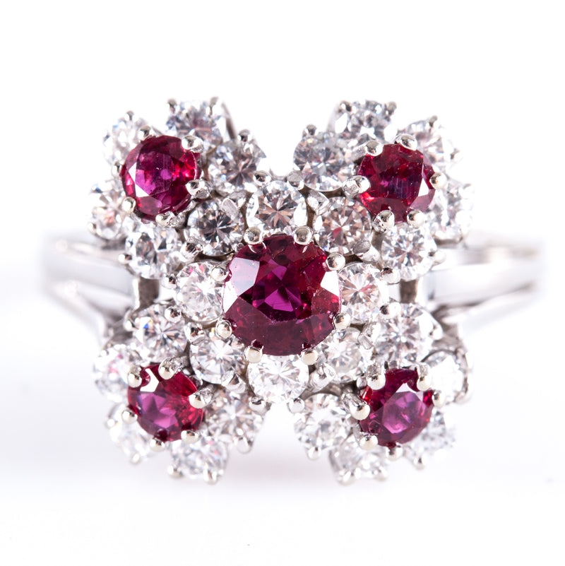 Vintage 1960's 14k White Gold Round Cut Ruby & Diamond Cluster Cocktail Ring 1.76ctw