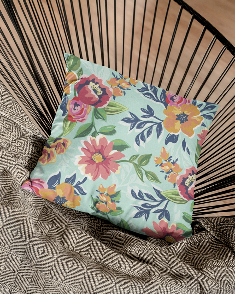 Painted Colored Flowers Cushion Cover
