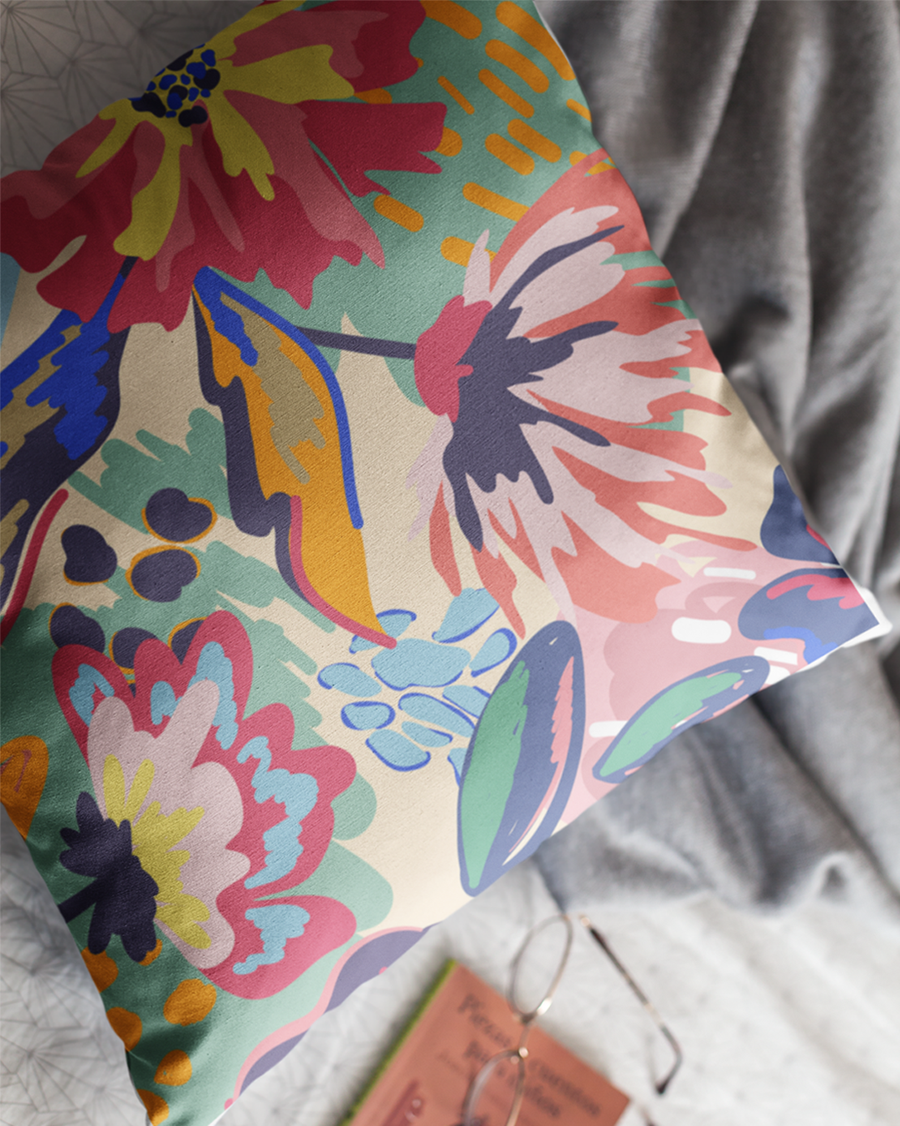 Vector Flower Pattern Cushion Cover