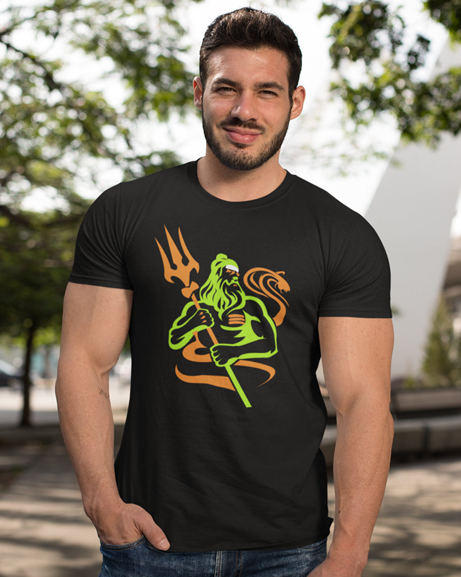 Baba with Trishul black Half Sleeve T-Shirt