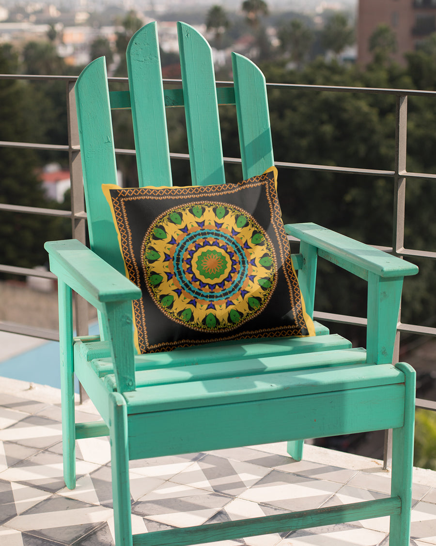 Circular Pattern With Yellow Border Cushion Cover