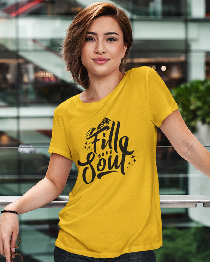 Fill your soul Yellow Half-Sleeve T-Shirt