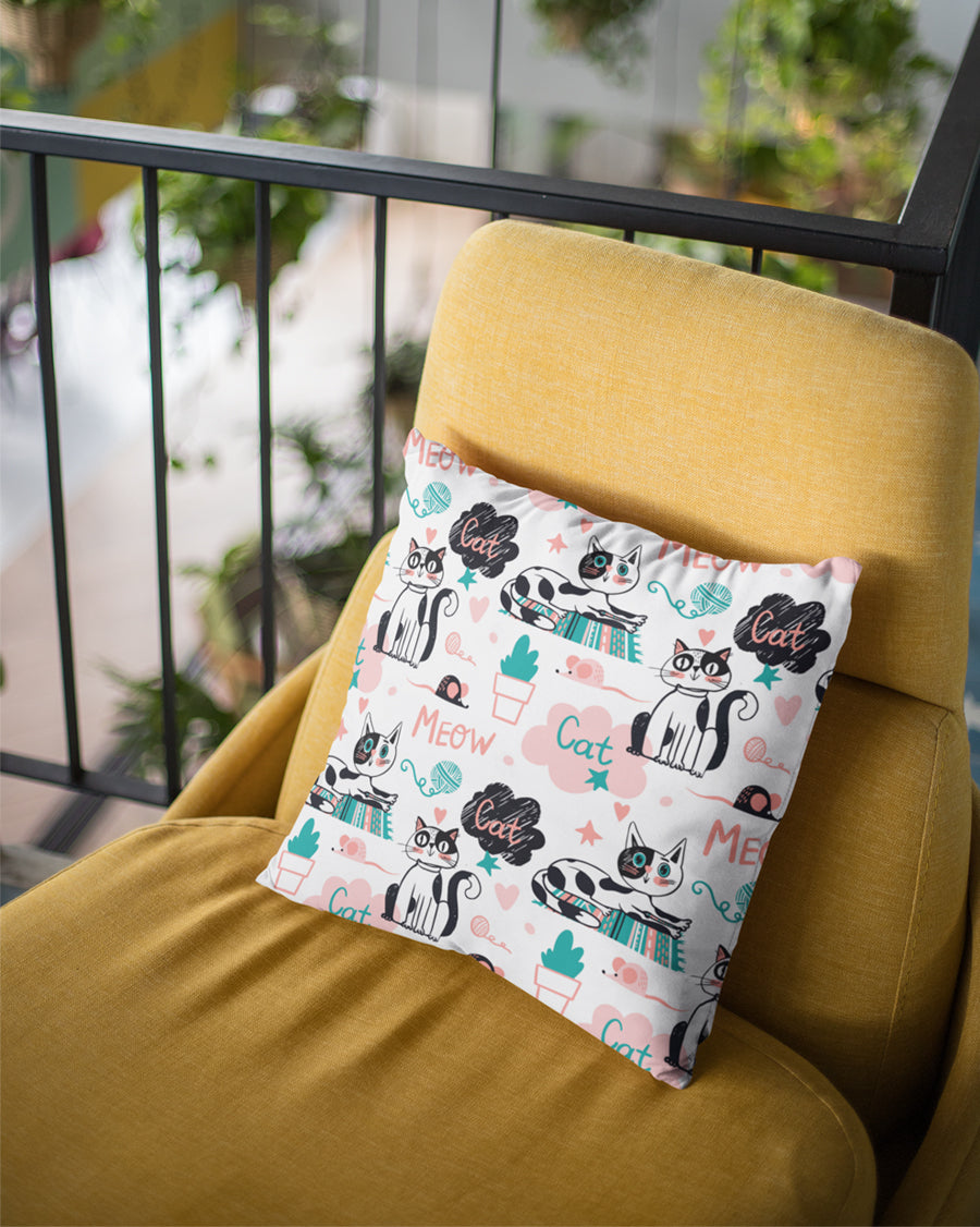 Meow Cat Cushion Cover